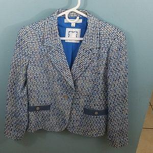 Blue and white tweed Liz Claiborne blazer